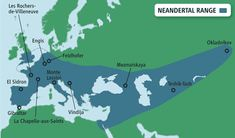 Map showing range of Neandertal existence