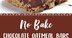 Ingredients 1 cup butter cup brown sugar packed 1 teaspoon vanilla extract 3 cups rolled oats 1 cup semisweet or dark chocol. Lemon Recipes, Fudge Recipes, Baking Recipes, Cookie Recipes, Dessert Recipes, Desserts, No Bake Oatmeal Bars, No Bake Bars, Oat Bars