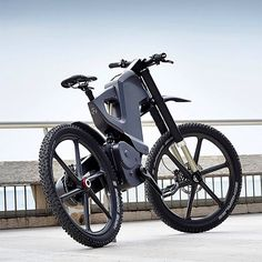 "Trefecta DRT Electric Bike - cruises along at 55mph / Li-Ion battery boasts a 60-mile range on a full charge / disc brakes, 26"" Carbon wheels #bike #bicycle #electric"