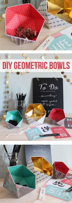Can you believe these cute geometric bowls are actually made of scrapbook paper?! Learn how to fold them following the free template and video tutorial. Cute office supply organization!