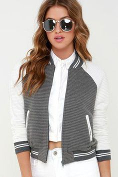 494055d5199db3 When you're up to bat, be sure to sport the Ballpark Babe Grey and White  Baseball Jacket! A padded knit baseball jacket with horizontal ribbing for  a ...
