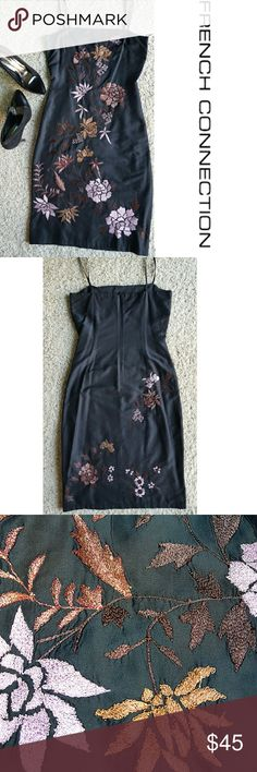Silk Embroidered Dress Beautiful spaghetti strap silk dress, embroidered with shiny filigree in fall colors. Fully lined, back zipper closure. Hits at Knee length. Gently used, in great condition. French Connection Dresses Midi
