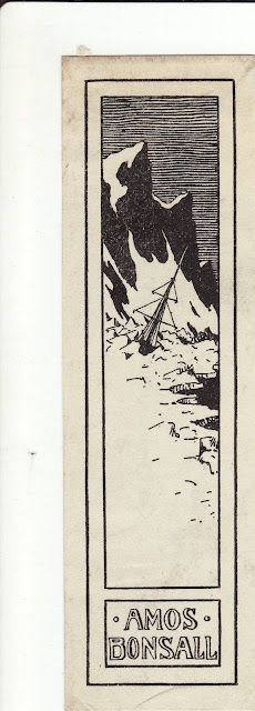≡ Bookplate Estate ≡ vintage ex libris labels︱artful book plates - ExLibris of Amos Bonsall, sole survivor of an 1853 polar expedition