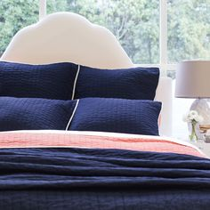 Bedroom inspiration and bedding decor | The Reversible Pick-Stitch Navy Blue…