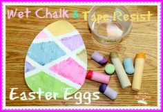 Wet chalk & tape Easter eggs - a fun art activity for kids!