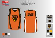 Artwork for the Waverley Hawks 'fairest player of the week' aussie rules jerseys