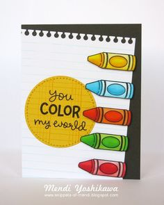Lawn Fawn blog: Color My World Card by Mendi Yoshikawa.
