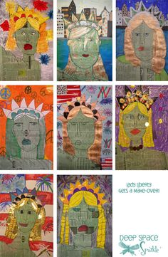 During Celebrate Freedom Week, students could make a collage of Lady-Liberty, with words that describe why they should celebrate freedom. I love the idea of art-incorporation into the mainstream classroom.
