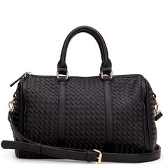 Women's Black Vegan Leather Woven Satchel | Anyta by Sole Society