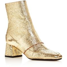 Aska Goldie Metallic Block Heel Booties ($425) ❤ liked on Polyvore featuring shoes, boots, ankle booties, gold crackle, leather upper boots, metallic booties, leather sole boots, block heel boots and gold booties