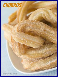 LOVE THIS BLOG! Bakerette.com Have your ever tried Costco's churros? If you have, you know what I'm talking about--a hot crunchy exterior with a soft chewy center rolled in cinnamon and sugar. This Churro recipe has an added bonus--it involves chocolate.Lots of it. Chocolate dunking heaven. Bakerette.com #churros #dessert #appetizers #snacks