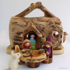 Big Real Log Gnome Home with Table and Chairs by willodel on Etsy, $82.00