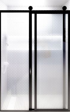 Gridscape Eclipse Barn Door Style Sliding Shower Door | GS3 | Black Frame