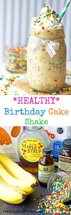 This HEALTHY, sweet and creamy birthday cake shake is full of healthy ingredients and protein to fuel your morning routine! It's like drinking dessert!
