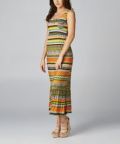 Love this Orange & Green Zigzag Sleeveless Maxi Dress by California Women on #zulily! #zulilyfinds