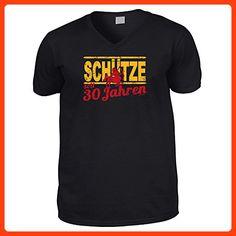 Hochwertiges T-Shirt mit V-Ausschnitt zum 30.Geburtstag : 30 Jahre / Schütze Goodman Design® - V-Neck Shirt Gr: XXL Farbe: schwarz (*Partner Link)