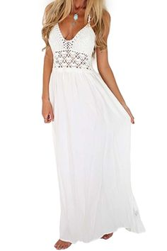 Openwork Backless Solid Color Maxi Dress WHITE: Maxi Dresses | ZAFUL