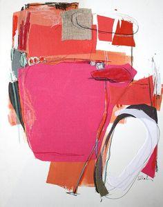 http://www.karinolah.com/?artIndex=3 Karin Olah, wonderful use of fabric in painting