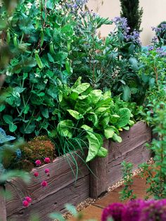 Railroad Ties Stacked to Form Raised Garden Beds