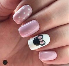 Make an original manicure for Valentine's Day - My Nails Disney Manicure, Disney Acrylic Nails, Cute Acrylic Nails, Cute Nails, Nails For Disney, Simple Disney Nails, Disney Nail Designs, Short Nail Designs, Nail Art Designs