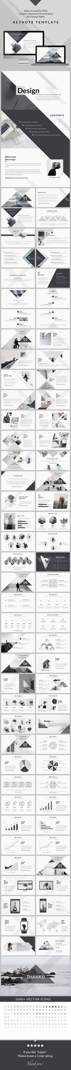 Design - Clean & Creative Keynote Template - Creative Keynote Templates #Infographics