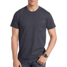 Hanes Men's Nano-T Short Sleeve Pocket Tee, Size: Large, Black