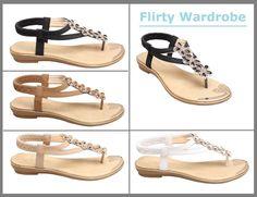 #Ladies #Sandals #Womens #Flats #Diamante #Floral #Flower #Straps #Stretch #Flat #TBar #Cute #Casual   #FLIRTYWARDROBE
