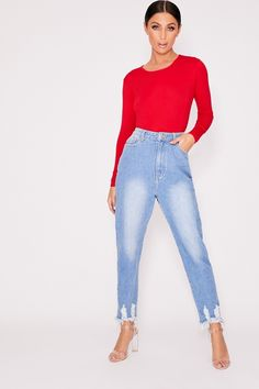 Bodysuits are a wardrobe staple. Shop the latest bodies and leotards in all shapes and colours at In The Style. Red Long Sleeve Bodysuit, Womens Bodysuit, Leotards, Wardrobe Staples, Mom Jeans, Black And White, Pants, Clothes, Shopping