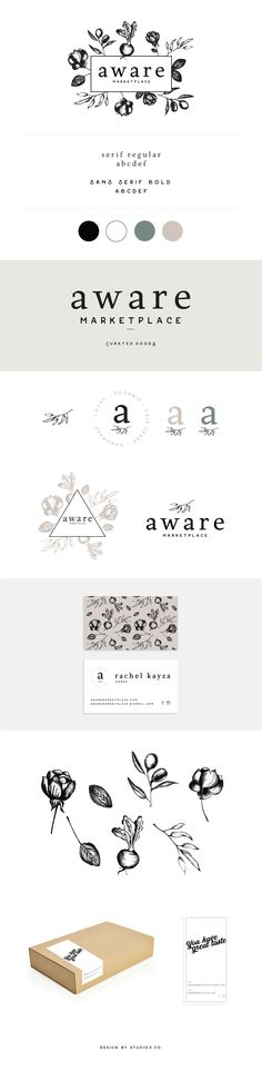 Aware Marketplace Branding & Packaging by Studio 9 Co. Collateral Design, Brand Identity Design, Branding Design, Branding Ideas, Web Design Studio, Graphic Design Studios, Ayurveda, Gin And Prosecco, Photographer Branding
