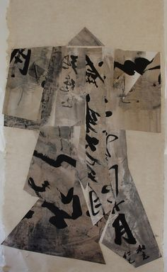 Asian calligraphic paper kimono 2012    collage     ink, broux de noix,  hemp and rice paper    110 x 200 cm