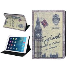 For+iPad+Air+Postcard+Style+Big+Ben+Leather+Case+with+Holder+&+Sleep+/+Wake-up+Function