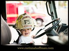 www.corinnahoffman.com picture of a baby boy in a fire truck