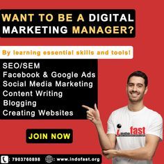 Digital marketing is a career that combines traditional marketing, web design, SEO, social media marketing, content writing, and much more. Let's look at the top skills required to become a Digital Marketing manager: * Data Analysis * Content Creation * SEO & SEM * Communication Skills * Social Media * Basic Design Skills Digital Marketing Manager, Social Media Marketing, Seo Sem, Google Ads, Create Website, Communication Skills, Facebook, Training Programs, Digital Media