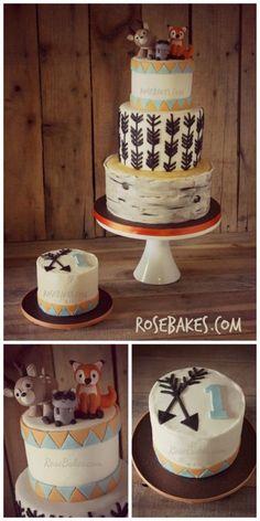Woodland Animals Cake and Smash Cake with Arrows & Birch Tree Tiers