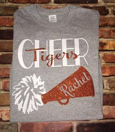 Cheer cheerleader shirt pom pom megaphone Cheering Mom Sport Team Football Cheerleader shirt Cheer shirt  **Please note: Normal turnaround time for heat pressed shirts is 7-10 days plus shipping time which ranges from 3-5 days! If you need it quicker than listed time please