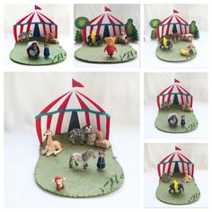 Circus Playscape Play Mat - wool felt storytelling fairytale storybook fairy color whimsical - Dollhouse woodland pretend play toy
