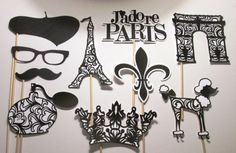 Paris Party Photo Booth Props Color can be by ItsTwinkleTime etsy