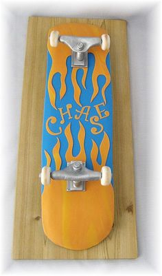 Skateboard with flames