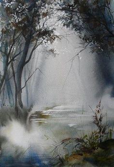 Акварель. Лес в тумане