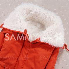 Stylish Women's Turn-Down Collar Long Sleeve Drawstring Fleece Lined Coat