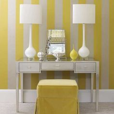 I love this vanity space. The stark white and lemon yellow striped wallpaper immediately brightens the space and adds an element of fun. The mirrored vanity and tailored ottoman keeps the space elegant and chic. Paint Stripes, Yellow Stripes, Yellow Accents, Wide Stripes, Yellow Home Offices, Yellow Office, Yellow Bedding, Striped Walls, Striped Room