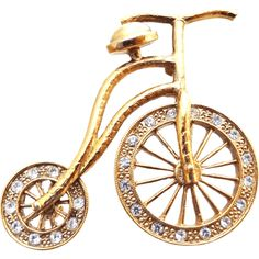 1928 Co. Rhinestone Tricycle Brooch #huntersalley