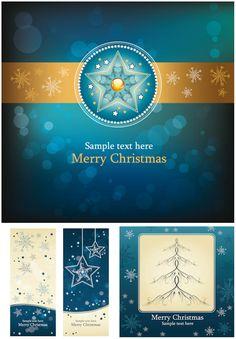 #Christmas blue cards #vector