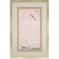 Blush Chinoiserie I. Asian motifs feature fabric matting with a silver leaf wood shadow box frame.