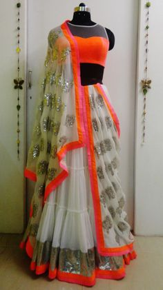 Indian# Bollywood fashion # ghagra choli # white # neon # Vitamin by Sonalika #Sonalika Pradhan