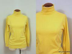 1980s vintage MOD yellow cotton turtle neck sz Medium by KroweNYC, $29.00