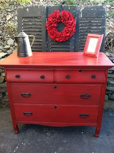 painting and staining old furniture. Ohhhh like this red.