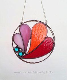 Стеклянная круглая подвеска. Сердечки. Цветное стекло. от DizArtEx