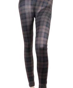 'Sexy Legs' Brown Plaid Pattern Fashion Leggings, L/XL boxed-gifts. $6.99