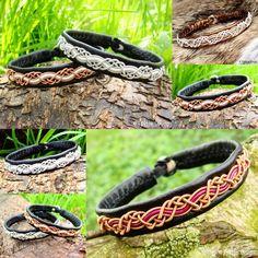 HUGINN Leather Viking Bracelets Handcrafted in traditional Swedish Sami style. Tjekijas Design Collage.